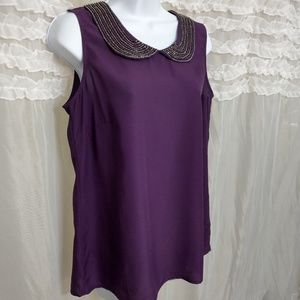 LOFT Purple Blouse Top w/ Beaded Peter Pan Collar